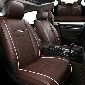 Luxury Leather Car Seat Covers Full Set Front Rear Cushion Universal Adjustable