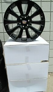 22 New Cadillac Escalade Factory Style Black Set Of Four Wheels Rims 5922