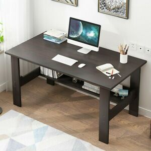 Small Computer Table Modern Desk Home Office Study Writing Table Desk W shelf Us