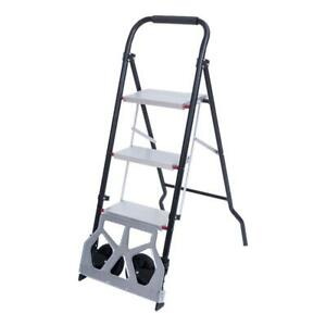2 in 1 Hand Truck Trolley Cart 3 Level Step Stool Folding Ladder Safety Tread