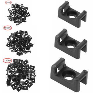 50pcs Black Saddle Shape Cable Tie Bases Screw Type Wire Mounts Clips Holder Usa