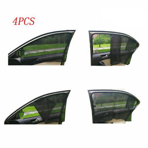 4pcs Magnetic Car Sun Shade Side Window Curtain Foldable Sunshade Uv Protection