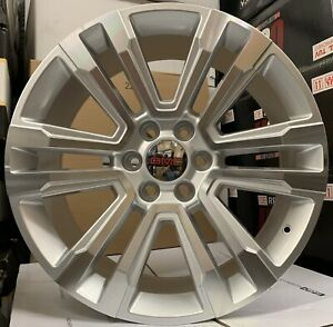26 Gmc Sierra Yukon Silver Machine Wheels Tires Chevy Silverado Tahoe Rims