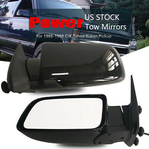Pair Black Power Tow Mirrors For 88 98 Chevy Gmc C K 1500 2500 3500 Non Heated