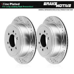 Rear Drilled And Slotted Plated Brake Rotors For 2006 2009 Nissan Patrol