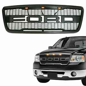 Front Grille Grill Raptor Style For 2004 2008 Ford F150 W Led Letter Black