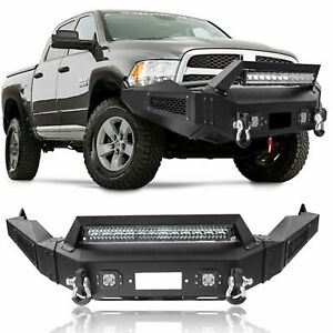 Front Bumper Black Steel Winch Plate Led Lights D Rings For 13 18 Dodge Ram 1500