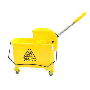 20l Mop Bucket Side Press Wringer On Wheels Cleaning Commercial Office Mopping