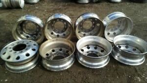 Set Of 8 Semi Truck 22 5 10 Hole Pilot Aluminum Alcoa Wheel 7397292
