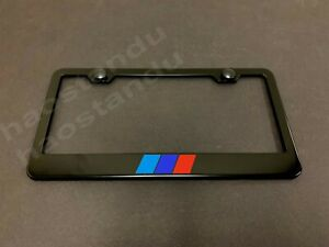 1x Tri Color Stripes Black Stainless License Plate Frame Rust Free Screw Cap