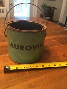Vintage Painted Green Bucket Metal Tin Galvanized Pail Poultry Aurovim Poultry
