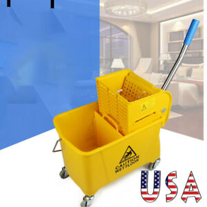 20l Commercial Mop Bucket Side Press Wringer On Wheels Cleaning Yellow Us