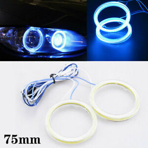 2x 75mm Yellow Angel Eyes Halo Ring Led Cob Fog Drl Light Daytime Lamp Universal