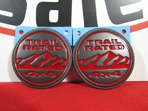Jeep Wrangler Jl Rubicon Set Of 2 Red Trail Rated Fender Badges New Oem Mopar