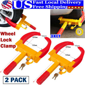 2 Pack Heavy Duty Tire Lock Anti Theft Clamp Parking Boot Car Trailer Truck Suv