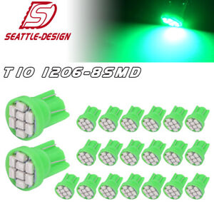 20x Green T10 8smd 192 194 Led Bulb Instrument Panel Interior Dome Light 158 168