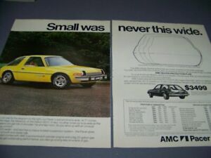 Vintage 1976 Amc Pacer X small Was Never This Wide 2 page Sales Ad 727w