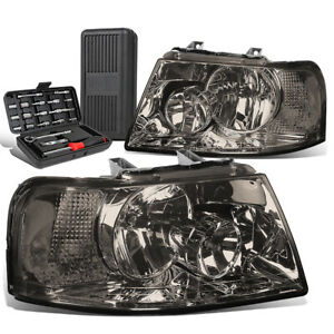 For 2003 2006 Ford Expedition Pair Smoked Clear Turn Signal Headlights Tool Box