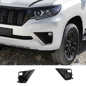 2pc For Toyota Prado Fj150 2018 21 Glossy Black Front Bumper Fog Lamp Trim Cover