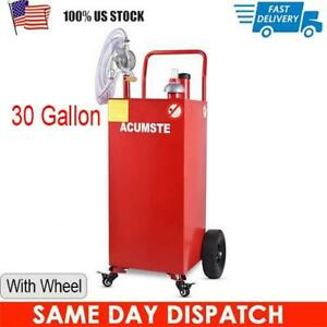 30 Gallon Gas Fuel Diesel Caddy Transfer Tank Container W Rotary Pump Wheel
