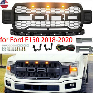 For 2018 2019 2020 Ford F150 Raptor Style Painted Gray Front Bumper Mess Grille