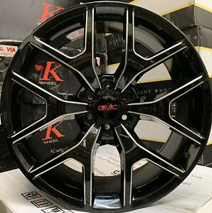 24 Gmc Sierra Yukon Chevy Silverado Tahoe Black Milled Wheels Rims Tires New