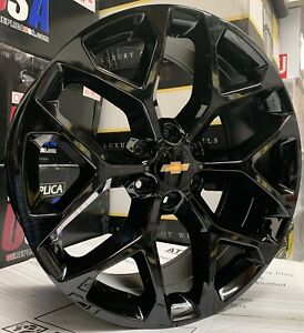 26 Gmc Yukon Sierra Snowflake Black Wheels Chevy Tahoe Silverado Tires Rims New