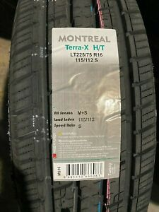 6 New Lt 225 75 16 Lre 10 Ply Montreal Terra X H T Tires