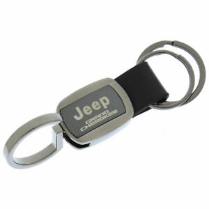 Jeep Grand Cherokee Double Valet Leather Key Fob gun Metal