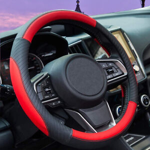 Red Pu Leather Steering Wheel Cover For Women Men Car Accessories Interior New