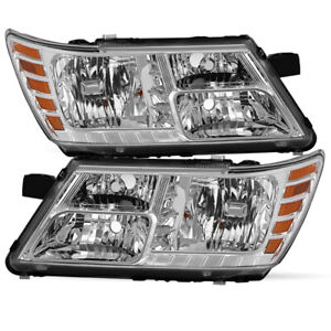 Headlights Assembly For 2009 2018 Dodge Journey Chrome Headlamps 09 18 Pair