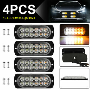 4x 12led Strobe Lights Bar Emergency Flashing Warning Hazard Beacon Amber white
