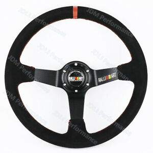 14inch Universal Ralliart Suede Leather Deep Dish Drift Steering Wheels