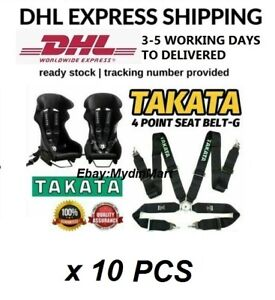 Takata Black 4 Point Snap on 3 With Camlock Racing Seat Belt Harness X 10