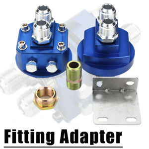 Blue Car Male Oil Filter Relocation Sandwich Fitting Adapter Kit 3 4x16 20x1 5