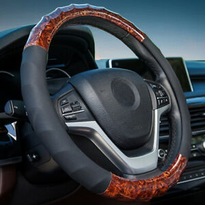 Car Accessories Pu Leather Steering Wheel Cover Brown Car Decorations Anti Slip