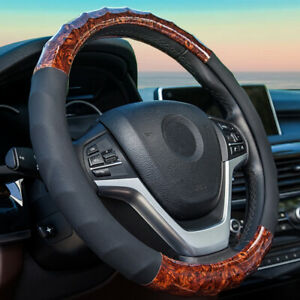 Leather Steering Wheel Cover For Men Interior Car Accessories For Women Fit 15in