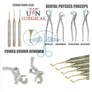 Dental Power Crown Remover Physics Forceps Periodontal Instruments Set 9pcs