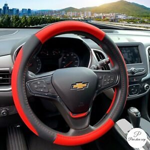 Car Steering Wheel Cover Leather Universal 15 Inch red And Black
