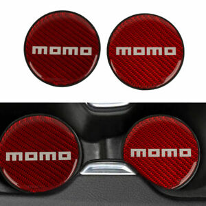 2x Momo Red Carbon Fiber Car Cup Holder Pad Water Cup Slot Non slip Mat For All