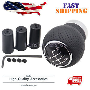 Universal Leather Gear Shift Knob 6 Speed Manual Car Shifter Lever Stick Black