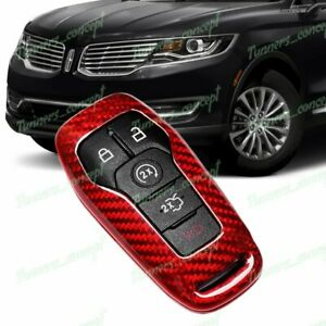 Red For Ford Mustang Edge F150 Fusion Real Carbon Fiber Remote Key Shell Cover