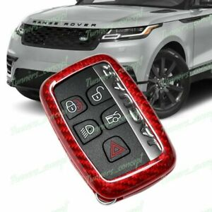 Red For Land Rover Range Rover Discovery Real Carbon Fiber Remote Key Fob Cover