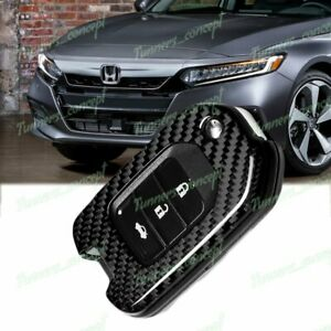 Real Carbon Fiber Remote Key Shell Cover Case For Honda Accord Civic Odyssey