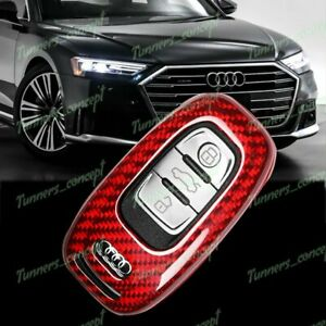 Real Red Carbon Fiber Remote Key Shell Cover Case For Audi S3 S5 S6 R8 Tt Q3 Q5