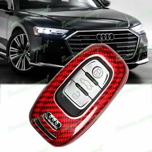 Red For Audi A3 A4 A5 A6 A7 A8 Real Carbon Fiber Remote Key Shell Cover Case