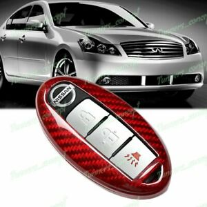 Red For Nissan 370z 350z Altima Maxima Real Carbon Fiber Remote Key Shell Cover