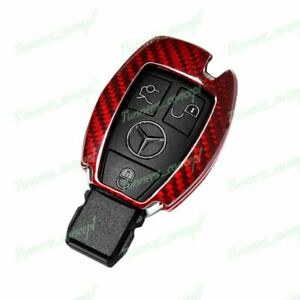 For Mercedes benz E320 350 500 Amg Remote Key Shell Cover Real Red Carbon Fiber