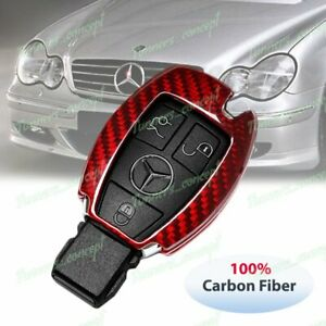 Real Red Carbon Fiber Remote Key Shell Cover For Mercedes benz C180 200 250 300