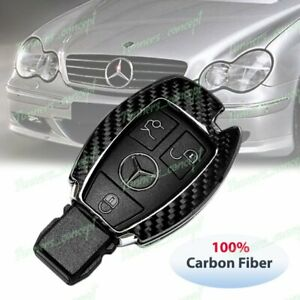 Real Carbon Fiber Remote Key Shell Cover Case For Mercedes Benz C180 200 250 300